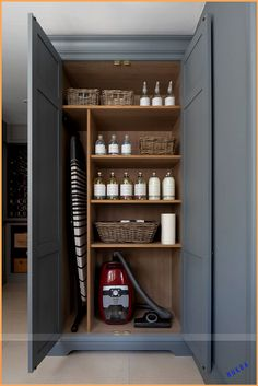 Every utility room needs a utility cupboard to put away all the essentials like a Miele vacuum cleaner (which is absolutely phenomenal especially if y… – Laundry Room Boot Room Utility, Utility Room Storage, Laundry Room Organization, Laundry Room Design, Cleaning Cupboard Organisation, Small Storage, Laundry Cupboard, Utility Cupboard, Cupboard Storage