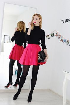 pink skater skirt with black