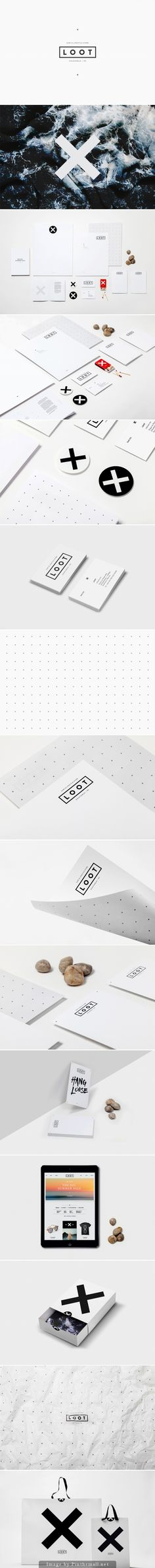 Loot branding corporate identity stationary minimal logo webdesign shopping bag wrapping paper business card sticker letterhead pattern black and white b&w graphic design