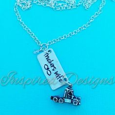 Truckers Wife - Semi Truck - Truck Driver - Hand Stamped Necklace