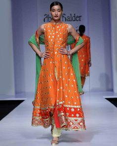 Flame Orange Anarkali Suit with Gold Dots