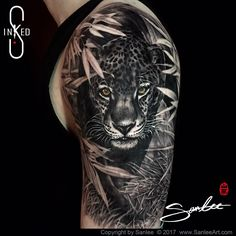 Leopard black and grey tattoo by Sanlee tattooer of Inkeds