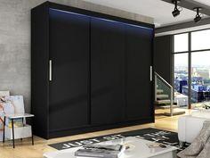 Black//White, With Carrying Service Ye Perfect Choice Modern Wardrobe Bedroom Coloured Glass 2 Sliding Door Wardrobe Barbarossa IV Width 150cm