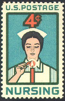 For my friend Steph who is working so hard in nursing school right now!  1961 stamp of a nursing student lighting a candle.
