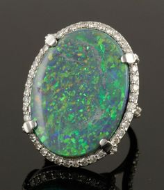 18K White Gold Diamond and Opal Ring : Lot 3168