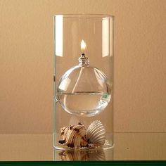Glass Oil Lamp by Firefly. This one is my favorite.  It's 2 pieces and you can easily add whatever decorative accents you like.