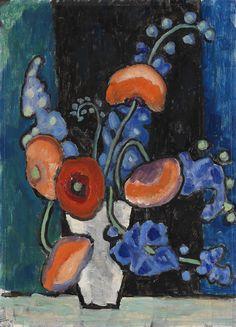 Gabriele Münter: Blumenbild vor blauschwarzem Grund (c.1935-1940)