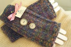 Wool Fingerless Gloves Handmade from Up-cycled  Sweater Etsy