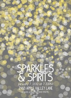 Sparkles and Spirits Party Invitation New Years Eve Rehearsal Dinner Wedding Candlelight Birthday Party Gray Printable 5x7 vertical on Etsy, $18.00