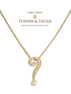 There's no #question that we need an extra pick-me-up this #Monday, so check out @neimanmarcus #Chicago to #shop some #unique pieces by @turnerandtatler, including this yellow #gold and old mine #diamond question mark with a #pearl drop #necklace!