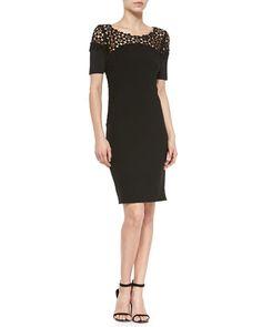 T9JXY Elie Tahari Suzie Sheath Dress W/ Lace Yoke PARA LIAN