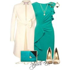 Loving this Teal and Cream dressy outfit