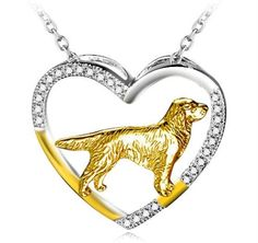 Golden Retriever Heart Necklace – Tees Are Me