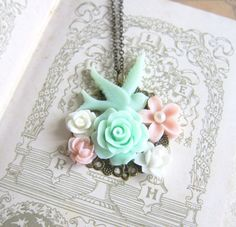 Shabby Chic Necklace Mint Green and Pink Bridesmaid