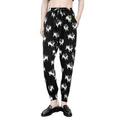 Women Baggy Harem Tapered Pant Trousers Pocket Cute Dog Black