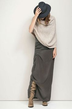 Love this outfit humanoid-fall-2014 #grey_maxi #knit_poncho #tan_boots gritandglamour.com