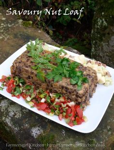 The Savoury Nut Loaf is packed full of vegetables nuts and lentils its filling but not heavy. I served it just warm with a tomato salsa and a Waldorf Salad of celery apples and pecan nuts. Vegetarian Christmas Recipes, Holiday Recipes, Vegetarian Recipes, Healthy Recipes, Healthy Meals, Nut Loaf, Lentil Loaf, Nut Recipes, Cooker Recipes