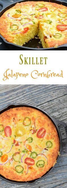 Skillet Jalapeno Cornbread - summer fresh vegetables baked into a sweet cornbread batter. #SundaySupper