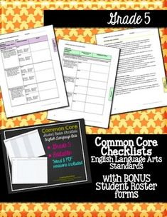 Editable! Common Core ELA Standards Checklists Grade 5 with Student Rosters $