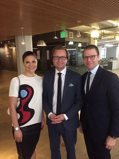 royalwatcher:  Crown Princess Victoria and Prince Daniel with Dr. Alexander Börve, founder and CEO of idoc24, visited the iDoc24 tech company, San Francisco, CA, January 19, 2015