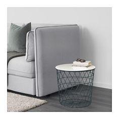 IKEA - KVISTBRO, Stolik z miejscem do przechowywania, turkusowy, , Uchwyt w blacie stołu ułatwia otwieranie i sięganie po przedmioty przechowywane w koszyku.Przydatny w całum domu, np. jako stolik kawowy, stolik lub stolik nocny.