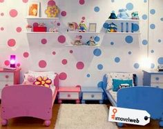 Exceptional Boy/girl Share Room The Polka Dots Are A Cute Way To Combine The Colors On  One Wall.