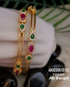 Stock came. 7286062150 ping me for orders Plain Gold Bangles, Gold Bangles Design, Gold Jewellery Design, Designer Bangles, Ruby Bangles, Designer Jewelry, 1 Gram Gold Jewellery, Real Gold Jewelry, Emerald Jewelry
