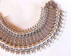 Ethnic tribal necklace silver statement necklace gypsy boho jewelry bib necklace on Etsy, $53.00