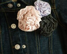 Flowers made from old tights! With all the colors and prints tights come in now this is a great idea.