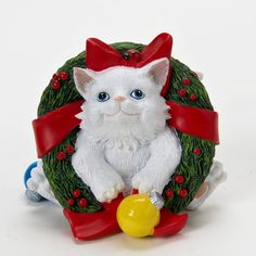 Charming Purrsonalities Kitten Figurine (Just Popped In To Say Happy Holidays)+
