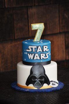 Tiered Star Wars birthday cake with Darth Vader