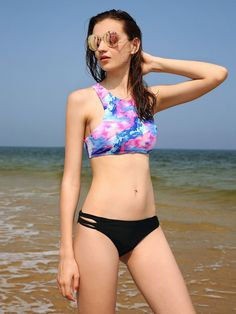 Mixed Print Ladder Cutout Mix & Match Bikini Set