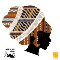 Silhouette de la tête d'une jeune fille africaine