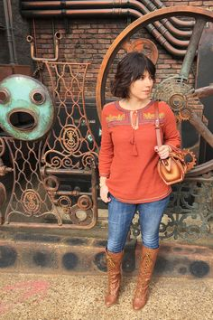 Embroidered Peasant Blouse in Rust