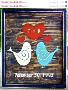 ON SALE Wedding Love Birds Sign Bridal Shower by ArtSortof on Etsy, $42.50