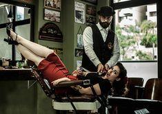 Miss Belle, estilo pin-up na Barbearia Old School (Foto: Pablo Zanella / Sailor Jack)