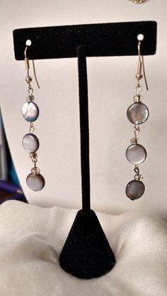 Silver Dangling Earrings,Flat Round Bluish Grey Tinted Beads,Holiday gift idea,Gift for her,Christmas,Hanukkah,Birthday,Anniversary,Costume by TheAndromedaGallery on Etsy
