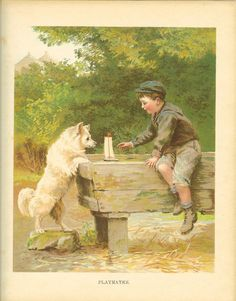 Vintage Edwardian 1900s Ernest Nister  Childrens Print Boy And  White Dog Sail Boat In Horse Trough Antique Colour Bookplate