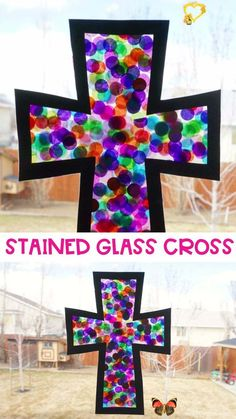 Gorgeous Stained Glass Cross Craft This stained glass cross craft is a beautiful and simple way for kids to decorate at home, school or church for the Easter holiday. Grab our free printable cross template and make this easy cross craft for Easter today! #iheartcraftythings<br> This stained glass cross craft is easy to make and is a beautiful and simple way for kids to decorate at home or church for the Easter holiday. Sunday School Crafts For Kids, Spring Crafts For Kids, Holiday Crafts For Kids, Crafts For Kids To Make, Christmas Crafts For Kids, Art For Kids, Kids Arts And Crafts, School Age Crafts, Easy Crafts