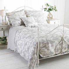 The Canterbury Tales Duvet Cover is patterned with an intricate toile de jouy design of various eighteenth century scenes on a white background. The duvet cover and pillowcases feature a matching piped border. Includes: 1 x Duvet Cover, 1 x Pillow Duvet Sets, Duvet Cover Sets, Cushion Covers, Luxury Bedspreads, Gray Bedspread, Metal Design, Quilted Bedspreads, Home Additions, Bed Throws
