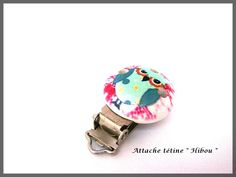 Attache tétine en bois pince clip hibou chouette vert rose blanc : Attaches par lapetiteboutiquepourlescreatifs