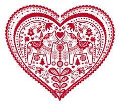 tinywhitedaisies dala horse red and white Swedish Christmas, Scandinavian Christmas, Folk Embroidery, Embroidery Patterns, Swedish Embroidery, Scandinavian Folk Art, Arte Popular, Heart Art, Folklore