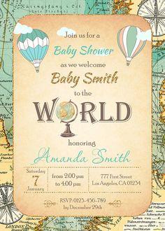 Hot Air Balloon Boy Baby Shower Invitation Around The World