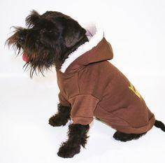 vêtement pour chiens sweat à capuche marron poitrail élastique 35cm 18e