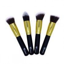 Gold Premium 4 Piece Synthetic Kabuki Makeup Brush Set
