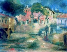 City Outskirts - Sirato Francisc 15 August, Post Impressionism, Art Database, Architecture, City, Artwork, Artist, Painting, Kunst