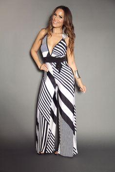 Black White Multi Stripe Print Spaghetti Straps Plunge V-Neck W/ Waist Tie Jumpsuit