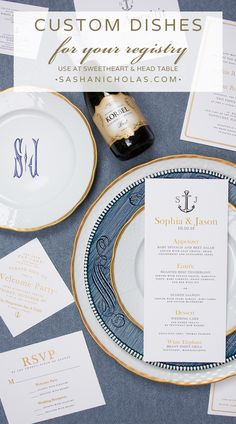Create an awesome tablescape by mixing and matching what you already have and combining it with our everyday white china porcelain dinnerware! We offer 5 font colors and give you the option of creating your own custom monogram. Register for the perfect monogram dishes that will pair best with your vintage china at https://www.sashanicholas.com/registry/ | Wedding Inspiration & Ideas | Tablescapes | China