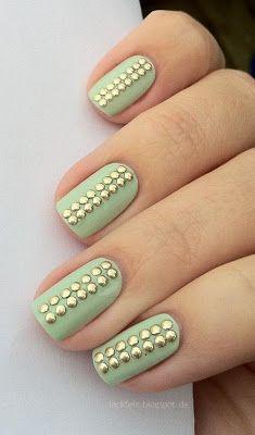 Mint + gold nail art