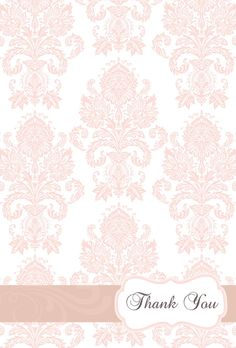 pink damask thank you cards. perfect for a vinatge baby shower Paper Background, Background Patterns, Backgrounds Wallpapers, Boarders And Frames, Baby Shower Thank You Cards, Pink Damask, Shabby Chic Crafts, Borders For Paper, Scrapbook Paper